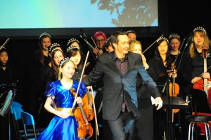 Taking a bow with a Kiravan soloist after the premiere of my opera, Kiravanu