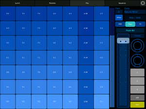 Lemur on the iPad in Perform mode. Quite similar to playing pitched instruments on the Ableton Push.